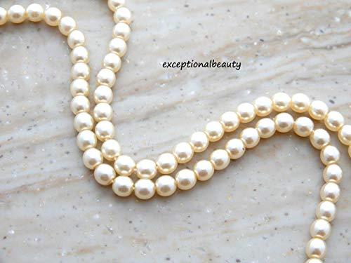 - 100 Ivory Cream Cultura Preciosa Czech Pearls 4mm Crystal Pearl Round Beads