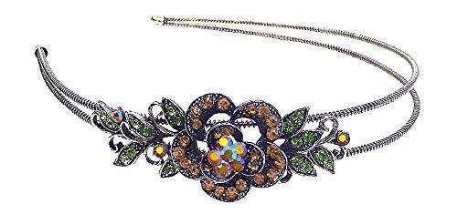 (Crystal Flower Headband Flexible Wire Metal Hair Band U86121-0119amber)