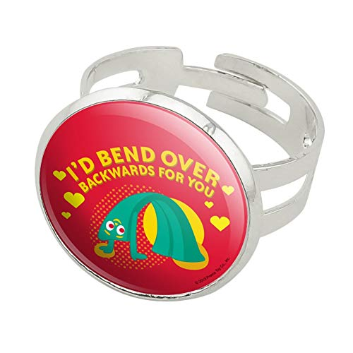 GRAPHICS & MORE Gumby Bend Over Backwards Love Valentine's Day Silver Plated Adjustable Novelty Ring ()