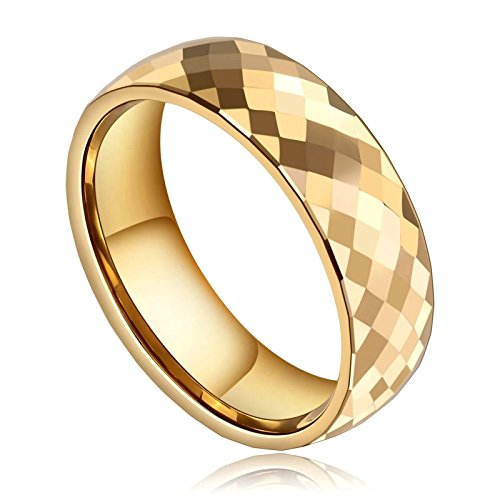 Beydodo Tungsten Rings Anniversary 8mm Gold Thumb Ring Polished Faceted Biker Rings Size 12 Hip Hop Ring by Beydodo