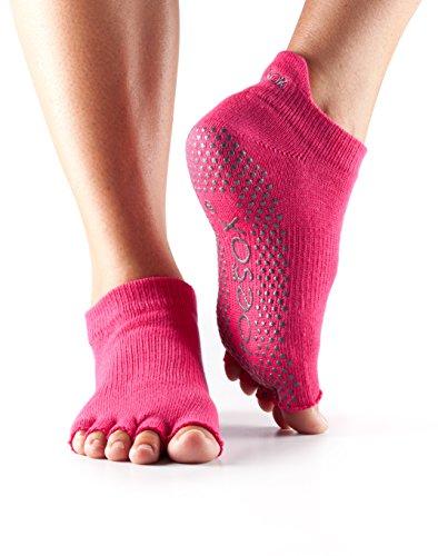 ToeSox Women's Grip Half Toe Low Rise Socks, Medium, Fuchsia from toesox