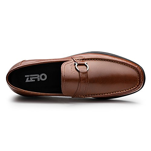 Zro Mens En Cuir Véritable Robe Chaussures Flats Boucle Slip-on Marron