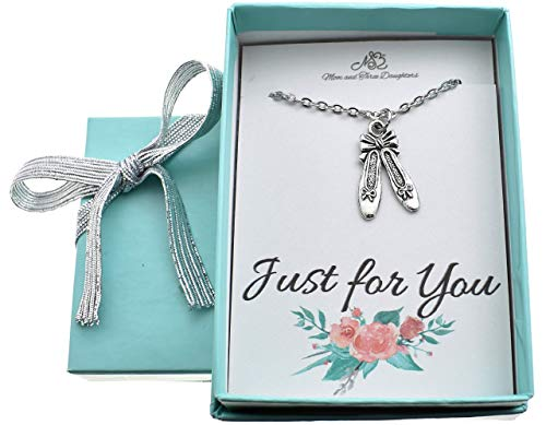 - Little girls, girls, teen, woman's ballet slippers necklace in silver pewter on a 16