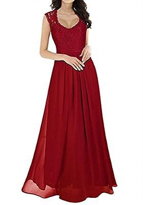 JAIZ Maxi Dresses For Women, Sexy Sleeveless High Waist Lace Chiffon Extra Long Regular Size Summer Cocktail Evening Dress