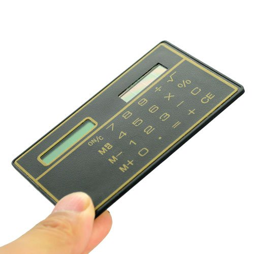 Mini Slim Credit Card Solar Power Pocket Calculator - Random Color by Meco Photo #4