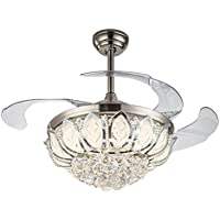 Silver Fan Lamp Chandelier LED Crystal Ceiling Light Lighting Remote Control 42 in (220V)