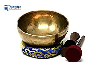"8.5"" Root Chakra Hand Hammered Meditation Tibetan Singing Bowl ~Antique Finished for Relaxation,Sound Bath,Healing,Therapy & Mindfulness~ included Suede Mallet,Silk Cushion,DrumStick~Handmade in Nepal"