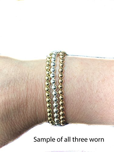 Bead Stretch Elastic Bracelet 14k Gold Yellow, White and Rose, Easy Slid On (7, rose-gold) by Seven Seas Pearls (Image #1)
