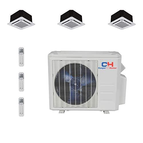 COOPER AND HUNTER Tri 3 Zone Ductless Mini Split Air Conditioner Ceiling Cassette Heat Pump 12000 12000 24000