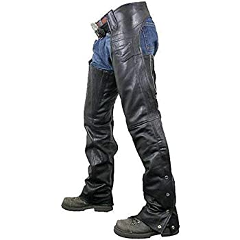 Black, XX-Small Milwaukee Leather Zippered Thigh Pocket Chaps