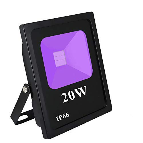 RONSHE 20W UV LED Black Light Flood Light with US Plug, Outdoor IP66 Waterproof, for Blacklight Party Supplies, Stage Lighting, Aquarium, Body Paint, Fluorescent Poster, Neon Glow, Glow in The Dark