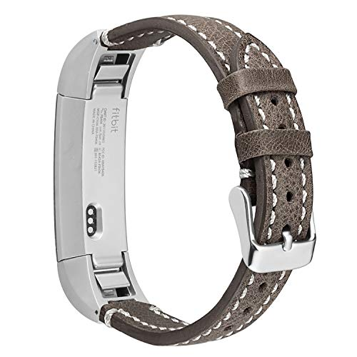 ESeekGo Band Compatible with Fitbit Alta/Alta HR/Fitbit Ace Band, Classic Genuine Leather Strap with Metal Connector Compatible with Fitbit Alta Band/Fitbit Ace/Fitbit Alta Hr Band, Men and Women
