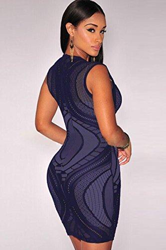 Neuf femmes Bleu sans manches en dentelle bodycon Mini robe Club Parti Porter Robe d'été Taille unique 8–10