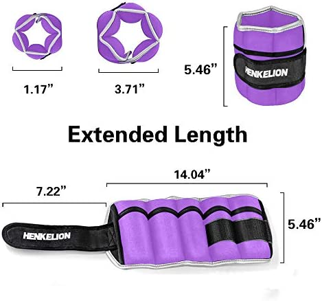 Henkelion 1 Pair 2 3 5 4 6 10 Lbs Adjustable Ankle Weights For Women Men Kids, Wrist Weights Sets For Gym, Fitness Workout, Running, Lifting Leg Weights - Black Grey Pink Blue Purple Green
