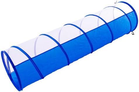 Spieltunnel f/ür Welpen und Kinder Tasche blau-wei/ß 180 x 48 cm