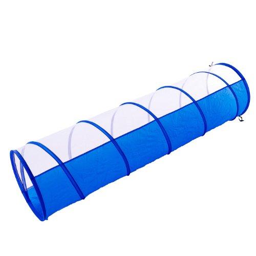 Spieltunnel für Welpen und Kinder blau weiß 180 x 48 cm + Tasche