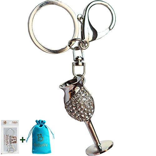 Bolbove Small Wine Glasses Shape Keychain Sparkling Keyring Crystal Rhinestones Purse Pendant Handbag Charm (White) -