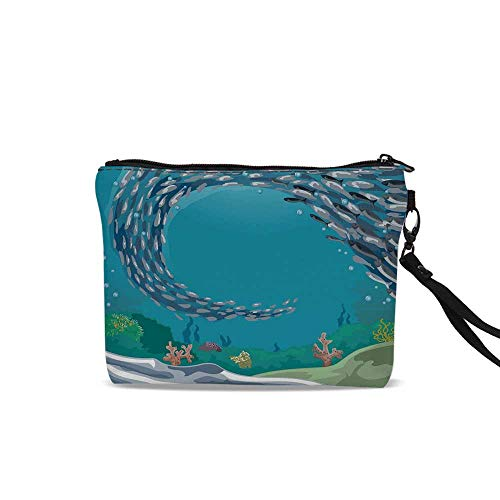 - Nautical Cosmetic Bag Pouch,Underwater World with Coral Reef and Tropical Fish Cluster Swimming Cartoon For Women Girl,9