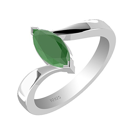 1.00ctw,Genuine Emerald 5x10mm Marquise & Solid .925 Sterling Silver Ring (Size-6.5)