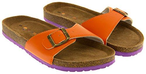 Orange Sangle Cuir Boucle Faux YF07061 Coolers Mules Femmes Sandales ZaRSqAq