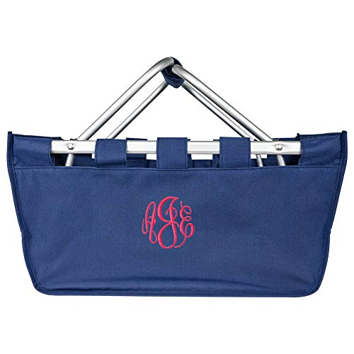 Personalized Large Collapsible Market Tote Baskets with Aluminum Frame (Dark Blue) ()