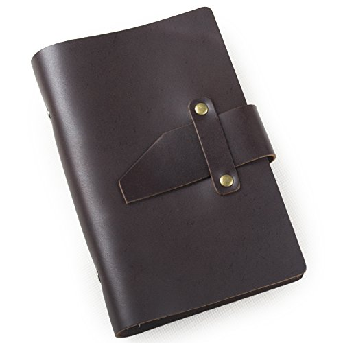ANCICRAFT Leather Journal A6 Diary Notebook Small Refillable with Simple Strap 6-ring Binder Lined Craft Paper (Dark coffee simple strap (Small Ring Agenda)
