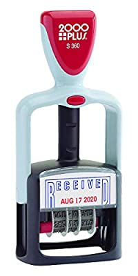 """2000 PLUS Self-Inking, Two-Color Date and RECEIVED Stamp, 1-3/4"""" x 1-1/8"""" impression, Red and Blue Ink (011034)"""