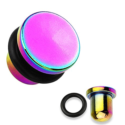 Inspiration Dezigns Flat Top Rainbow Titanium IP 316L Surgical Steel Single Flare Plugs with O-Ring - Sold as Pairs (4G)