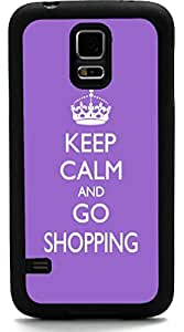 Rikki KnightTM Keep Calm and Go Shopping - Violet Color Design Samsung? Galaxy S5 Case Cover (Black Rubber with front Bumper Protection) for Samsung Galaxy S5 i9600