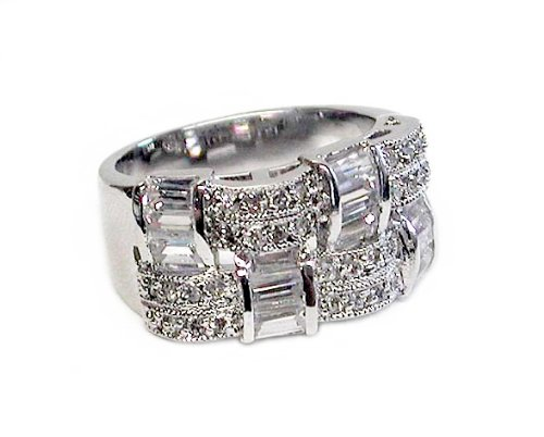 Studio 925 Christina Diamond CZ Basketweave Sterling Silver Ring, 9