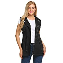 Meaneor Womens Zip Up Military Jacket W/Hood