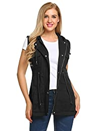 Meaneor Women's Sleeveless Lightweight Military Anorak Vest