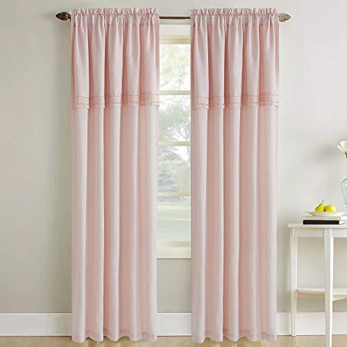 Amrapur Overseas Sheer Textured Macramé Lace Curtain Set of 2, Blush ()