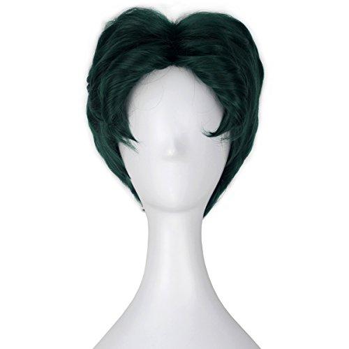 [Miss U Hair Men Short Fluffy Wavy Green Hair Halloween Cosplay Costume Wig C353] (Short Green Wig)