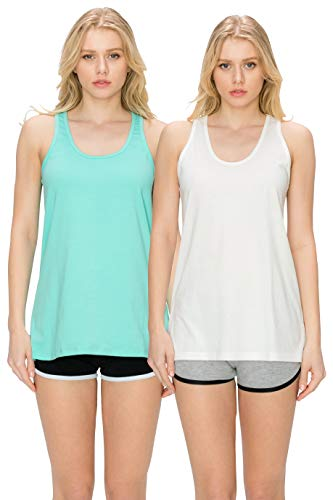 EttelLut Loose Fit Relaxed Flowy Knit Tank Top: Workout Jersey Sexy Pack White/Mint M