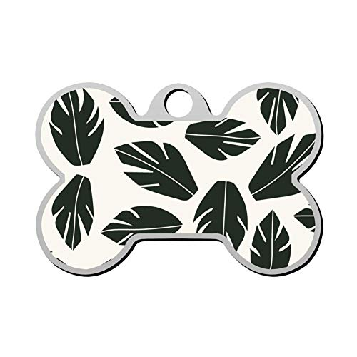 Qeksow Customizable Bone Shape ID Tags, Tropical Plant Leaf Pattern Personalized Double Sided Printed Pet Information Collar for Cat Dog