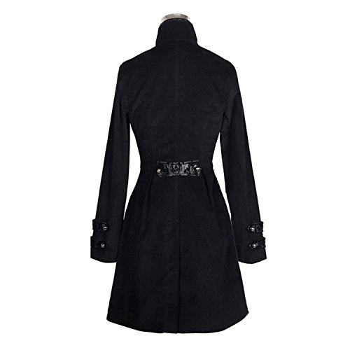 Devil Fashion Punky g¨®tico de las mujeresCollar de pie de algod¨®n Chaqueta de manga larga Slim-Fitting Long Trench Coat, 7 tamanos