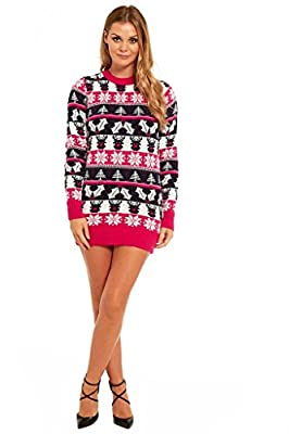 YOU LOOK UGLY TODAY 6 Designs! Ladies Christmas Sweater Dress Womens Tunic Xmas Fairisle Top by YLUT