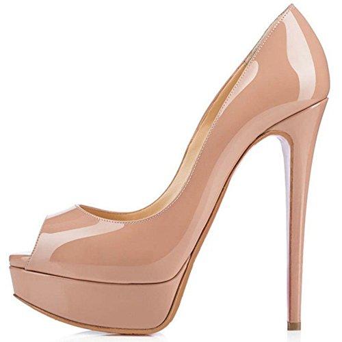 TAOFFEN Mujer Elegante Aiguille Peep Toe Sandalias Tacon Alto Sin Cordones Zapatos Caqui
