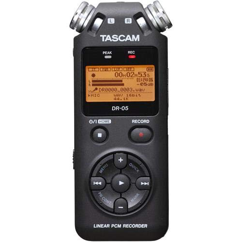 Tascam Portable Studio Recorder, Black, 7.5 x 2.4 x 1.2 inches (DR-05V2) (Tascam Dr 05 Portable Handheld Digital Audio Recorder)