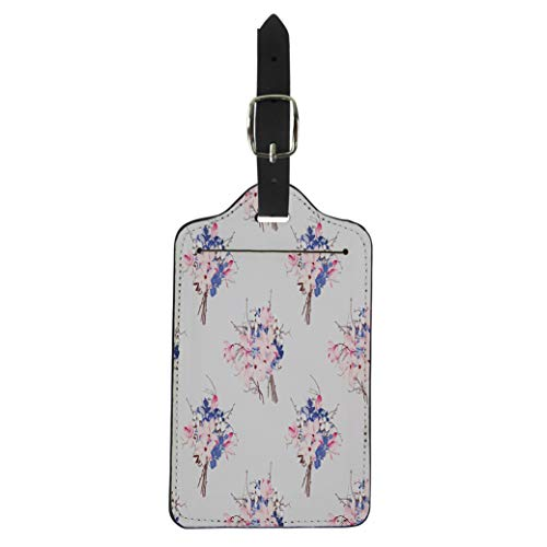 Semtomn Luggage Tag Brown Flowers French Pattern Magnolia Hydrangea Orchid Pink Aroma Suitcase Baggage Label Travel Tag Labels
