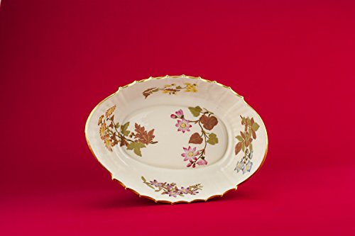 Antique Unusual Serving BOWL Bone China Floral Service Royal Worcester Aesthetic Movement Large Dinner English 1887 (Halloween In Worcester)