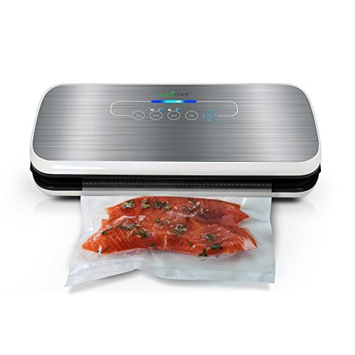 NutriChef Vacuum Sealer | Automatic Vacuum Air Sealing System For Food Preservation w/Starter Kit | Compact Design | Lab Tested | Dry & Moist Food Modes | Led Indicator Lights ()