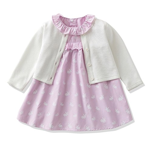 - Ferenyi's Baby Girl's Clothes Long-sleeved Jacket With Floral Dress Sets (17-24 Months, White)