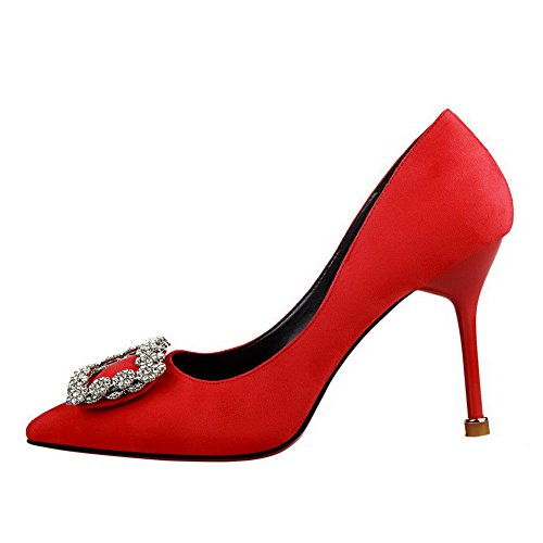 AllhqFashion Womens High-Heels Pull-On Imitated Suede Pointed-Toe Pumps-Shoes Red ViuHCpjUBF