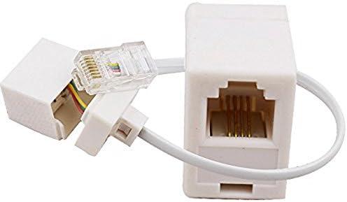 Gaetooely 2 Prise 8P4C//RJ45 Male RJ11 6P4C vers Femelle M//F Adaptateur Telephone Ethernet