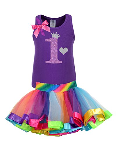 Bubblegum Divas Baby Girls' 1st Birthday Purple Rainbow Tutu Outfit 12 Months