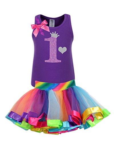 [Bubblegum Divas Baby Girls' 1st Birthday Purple Rainbow Tutu Outfit 12 Months] (Disco Diva Outfit)