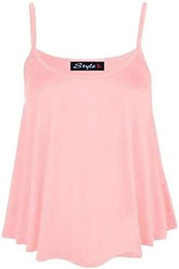 New Womens Plain Swing Vest Sleeveless Top Strappy Ladies Plus Size Flared Cami