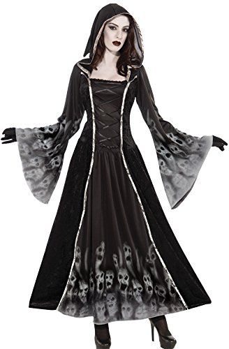 Women's Forgotten Soul Dress Spirit Ghost Grim Reaper Halloween Costume, OS (6-14)